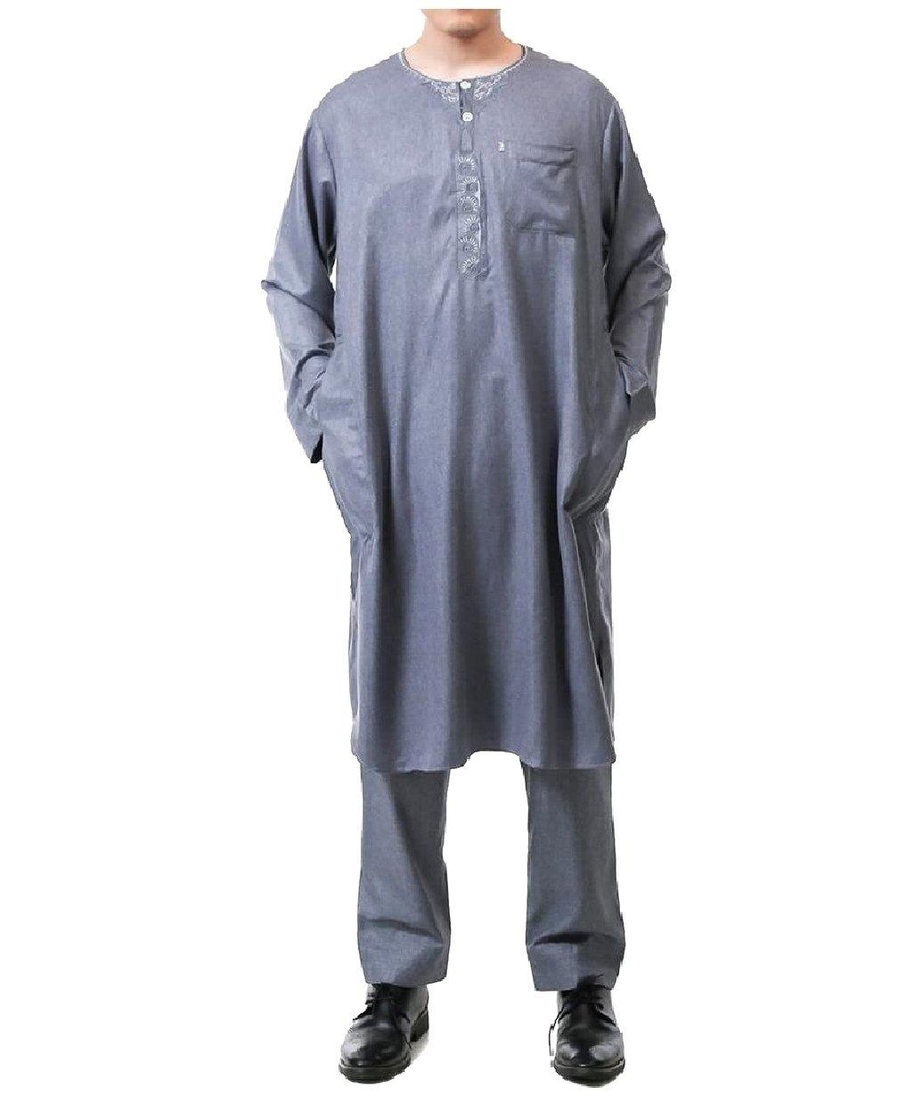Tootless Men 2-Piece Middle East Cotton Linen Blend Muslim Shalwar Kemeez Dark Grey 60