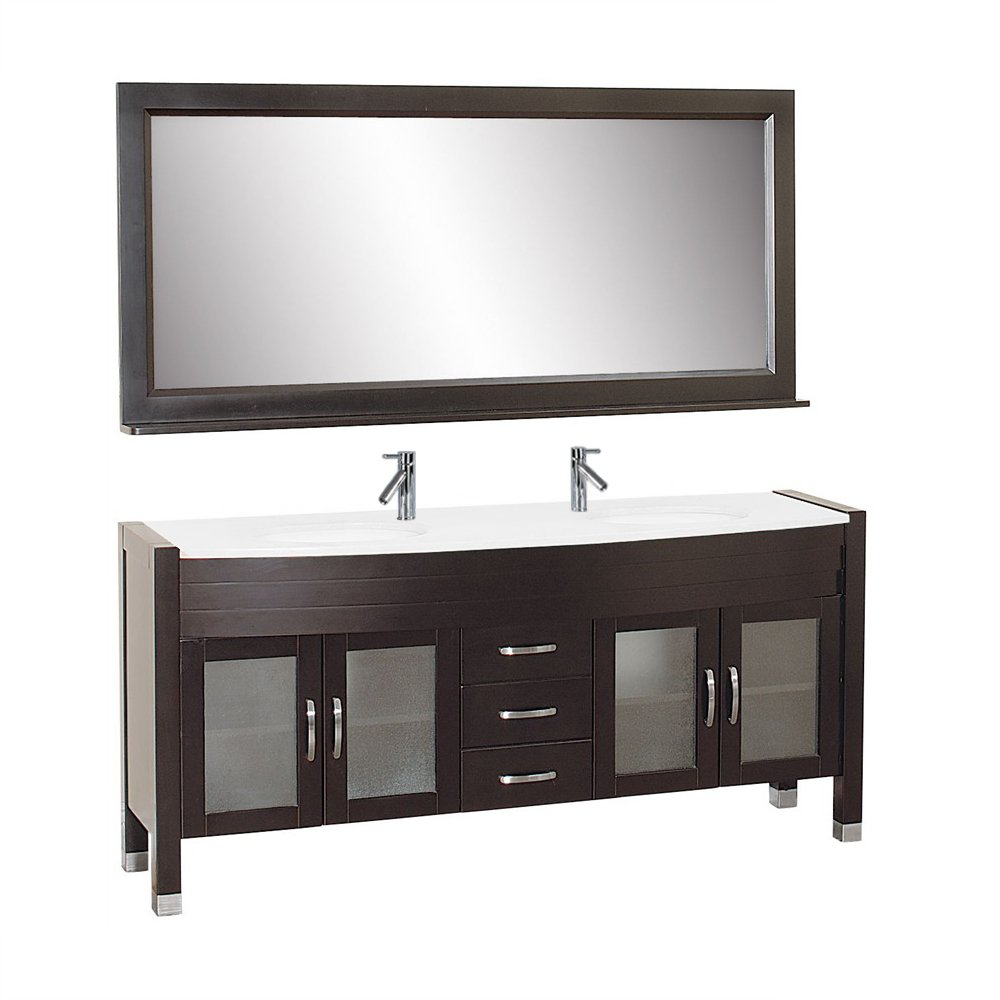 Virtu USA UM-3073-S-ES Ava 71-Inch Double Sink Bathroom Vanity Set with Shelf, White Ceramic Basins and Faucets, Espresso Finish