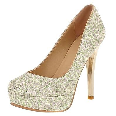 AIYOUMEI Damen Spike Heel Glitzer Pumps mit Plateau und 11cm Absatz Stiletto High Heels Brautschuhe 5vybKD