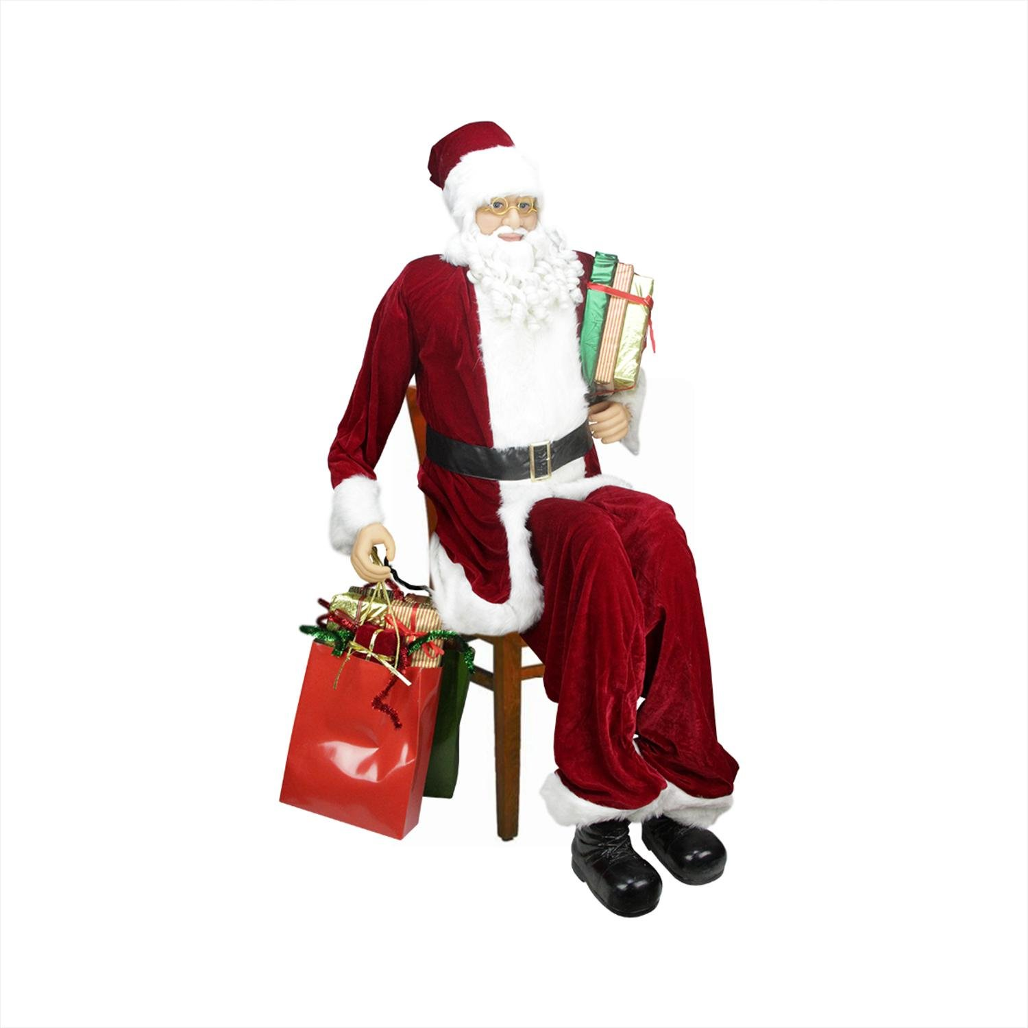 Northlight 31451214 Huge Life-Size Decorative Plush Christmas Santa Claus Figure (Sitting or Standing) with Presents, 6'