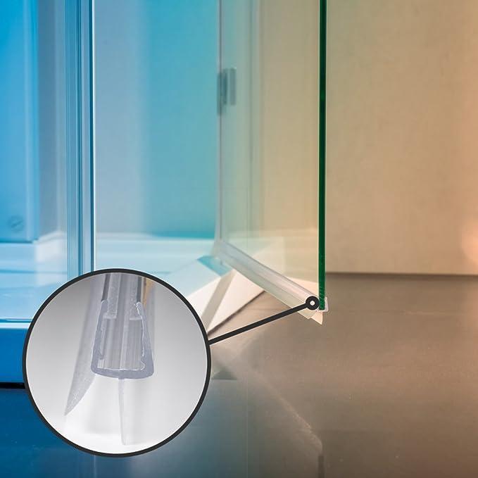 Sealis - Junta de repuesto (2 x 80 cm, para vidrio de grosor de 5 mm, 6 mm, 7 mm, 8 mm), transparente: Amazon.es: Bricolaje y herramientas