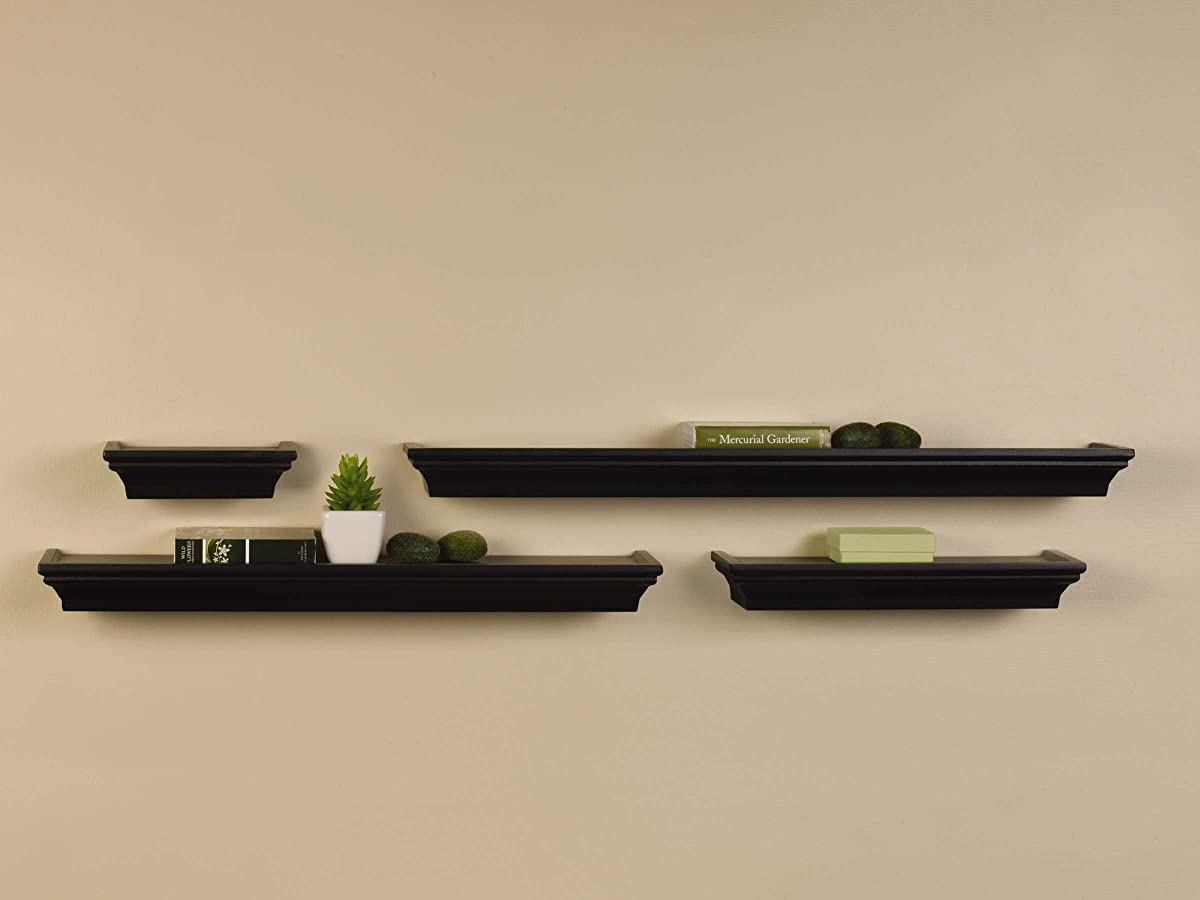 MELANNCO Wall Shelves, Set of 4, Black