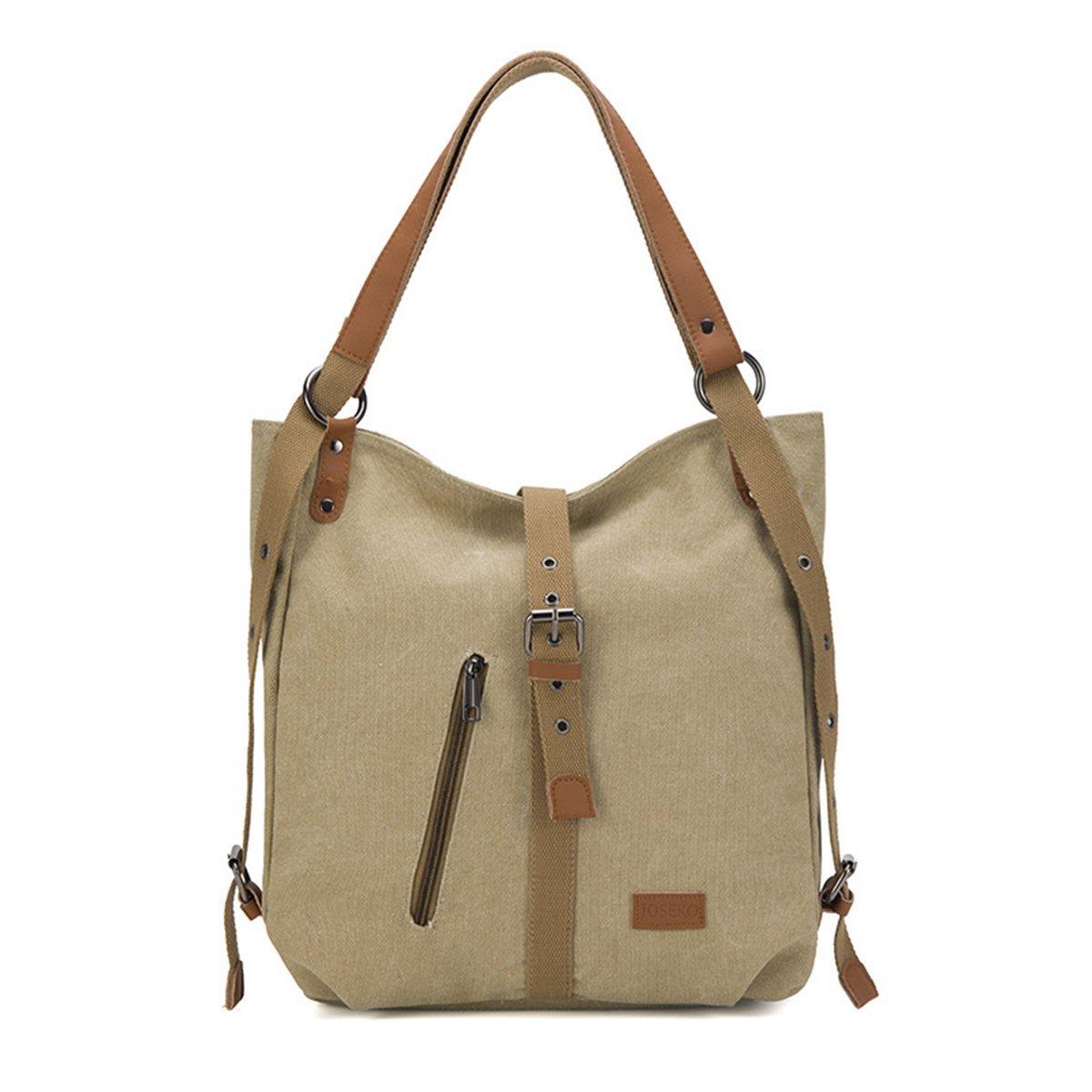Evaliana Women Travel Canvas PU Leather Rucksack Backpack School Shoulder Bag