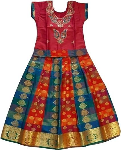 Small Girls Pavadai Readymade Lehenga Pattu Pavadai Red Net Lehenga Choli Baby Girls Lehenga Choli,Pavadai Set