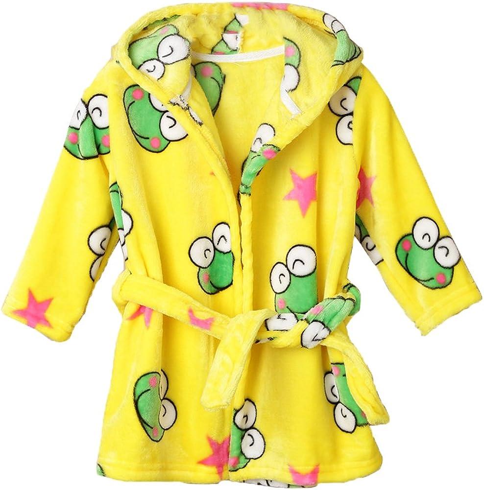Jojobaby Unisex-Baby Fleece Warm Bath Robe Hooded Pajamas Childrens Sleepwear