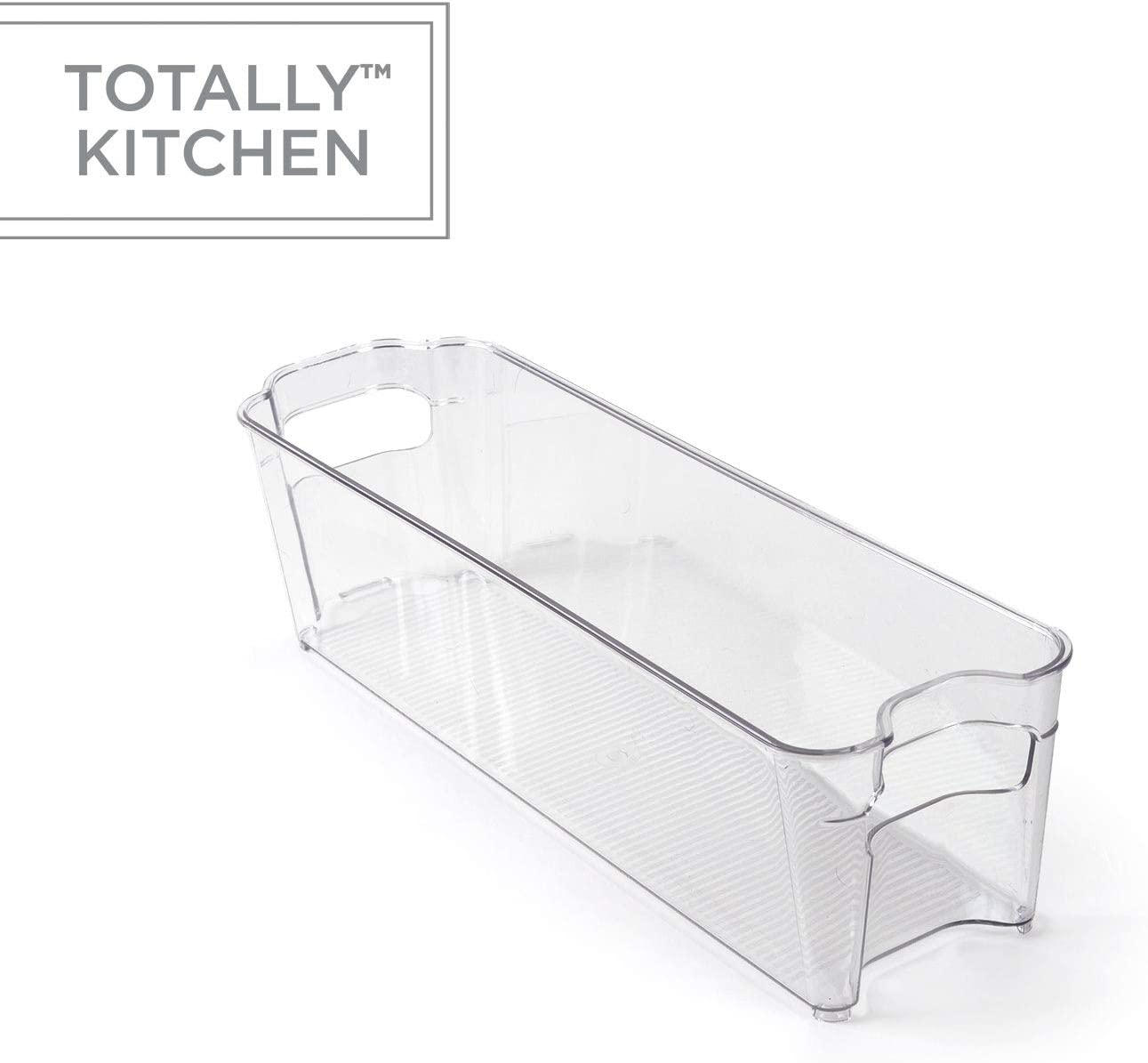 Totally Kitchen Clear Plastic Stackable Storage Bins   Refrigerator, Freezer, Pantry & Clothes Organization Container with Carrying Handles   Small