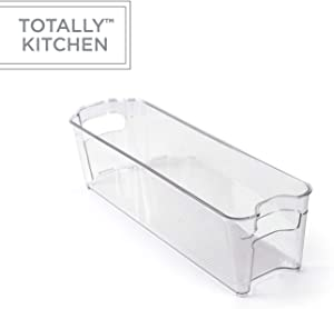 Totally Kitchen Clear Plastic Stackable Storage Bins | Refrigerator, Freezer, Pantry & Clothes Organization Container with Carrying Handles | Small