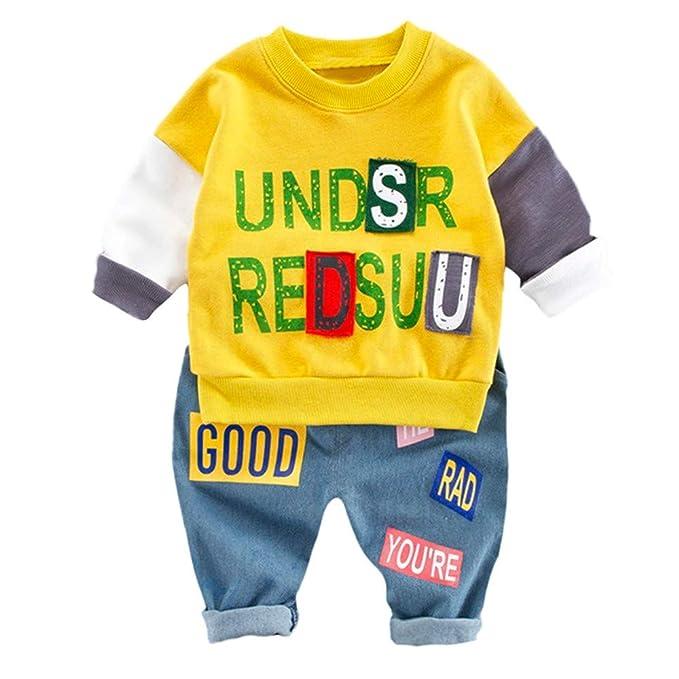 ❤ Tefamore Conjunto Bebe Niña Niño Oferta Juego de Ropa Cuello Redondo  Camisas de Letras Impresión + Casual Pantalones Deporte Conjunto para  Toddler Bebé ... eccf282e7d0e