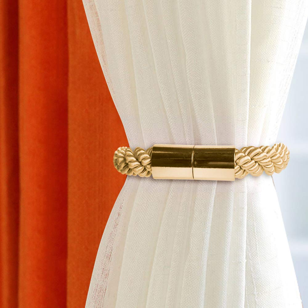 Manfore 2 Pieces Magnetic Curtain Tiebacks the Rope Holdbacks Tie//Clips//Buckles replacement Pair Holdbacks for Curtains Gold