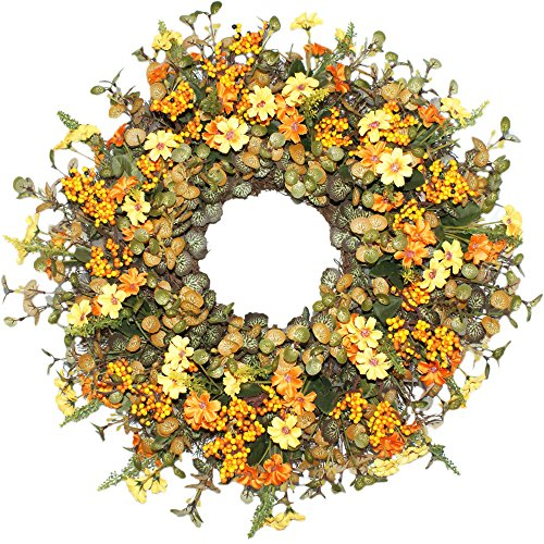 Emlyn Berry Daisy Silk Summer Fall Front Door Wreath 18 inches - Brightens Front Door Decor Vibrant Fall Colors, All Weather Outdoor Wreath That Lasts Years- Golden Yellow by Emlyn