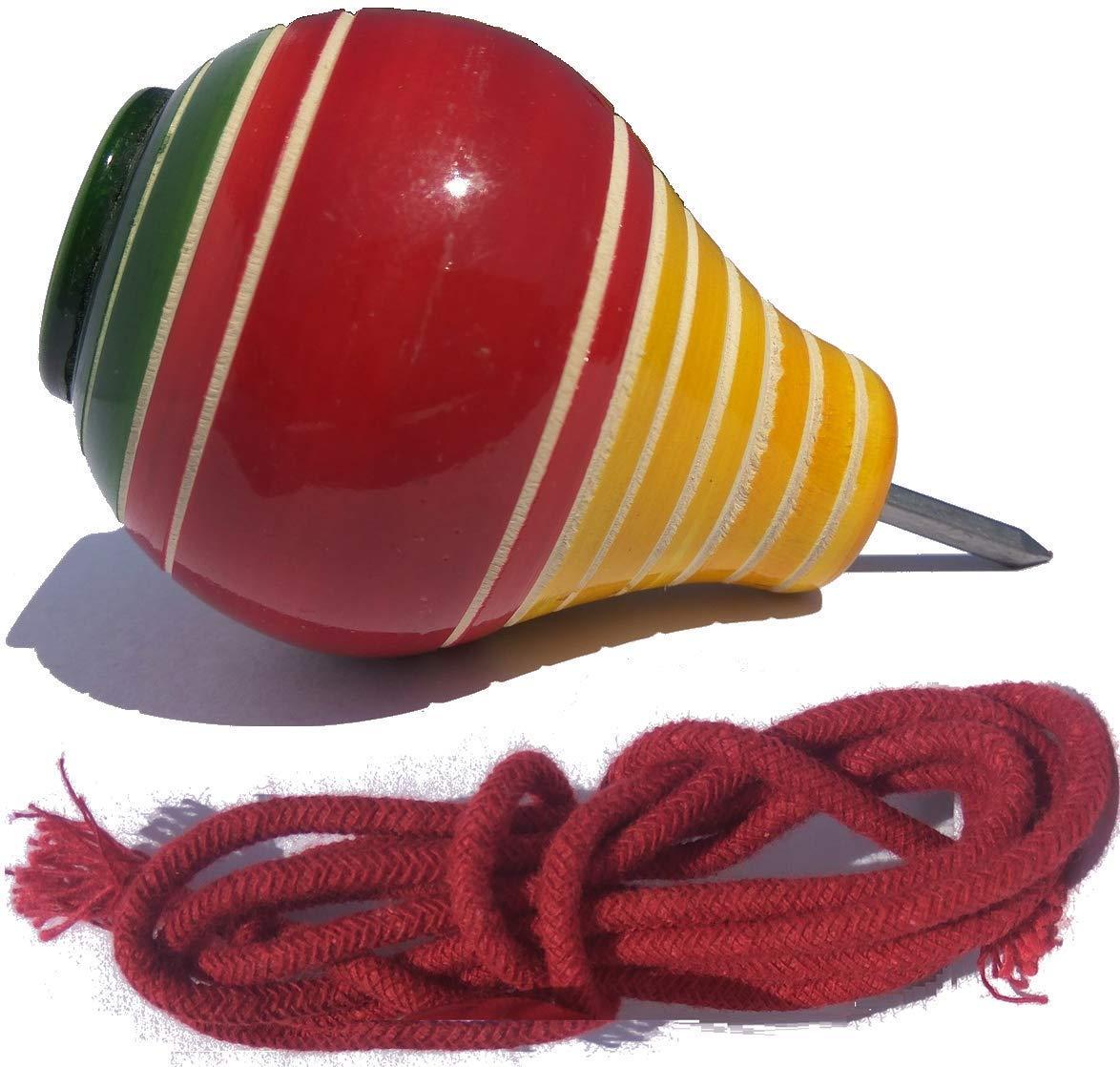 Simple Days Wooden Spinning Tops Lattoo / Bambaram / Buguri / Bongaram with String