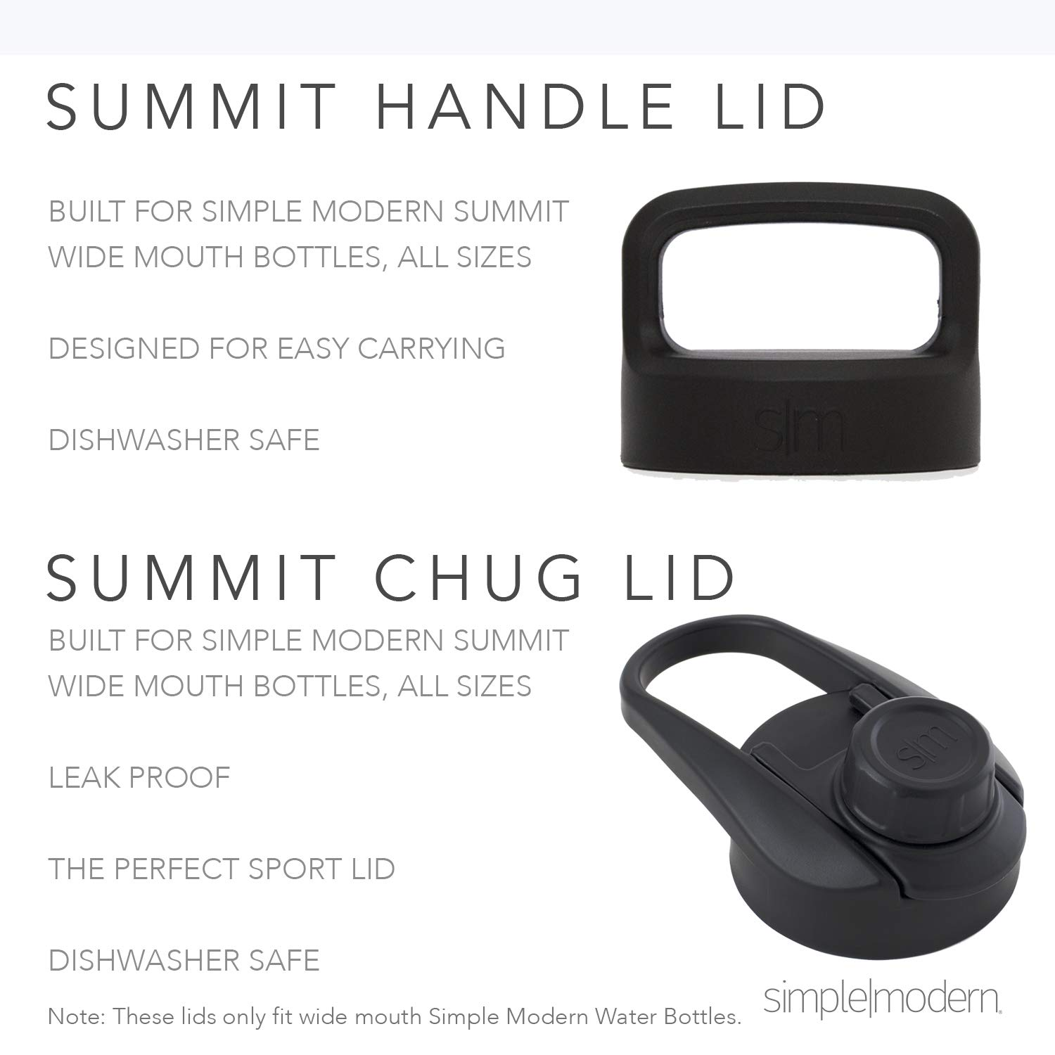 Simple Modern 84oz Summit Water Bottle - Stainless Steel Half Gallon Flask +2 Lids - Wide Mouth Double Wall Vacuum Insulated Black Leakproof - Midnight Black by Simple Modern (Image #7)