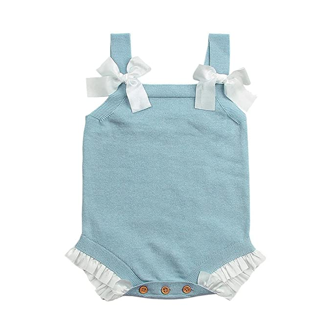 390b5b68ee3 Hatoys Cute Newborn Toddler Baby Girls Sleeveless Bowknot Lace Knitted  Jumpsuit Bodysuit Clothes Rompers (3M