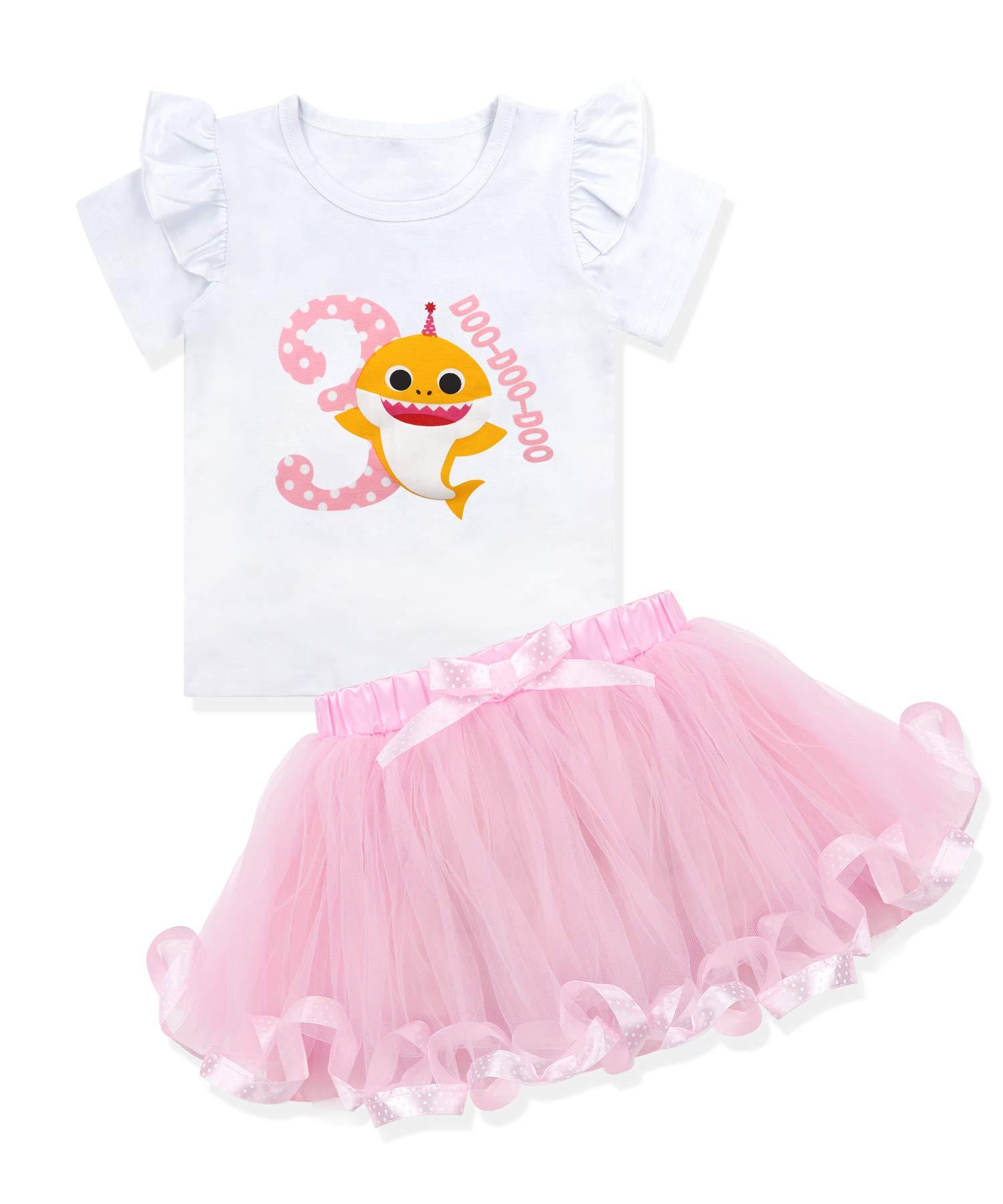 Baby Girls Shark Doo Doo Doo Romper Tutu Dress 1st Birthday Outfit Set