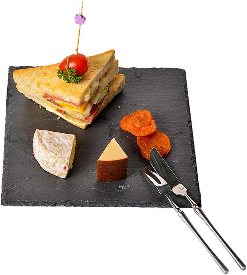 Pizarra para queso, bandeja de piedra sólida, tabla para servir queso y carne para el hogar, restaurante, cafetería, negro, 20x20x1cm