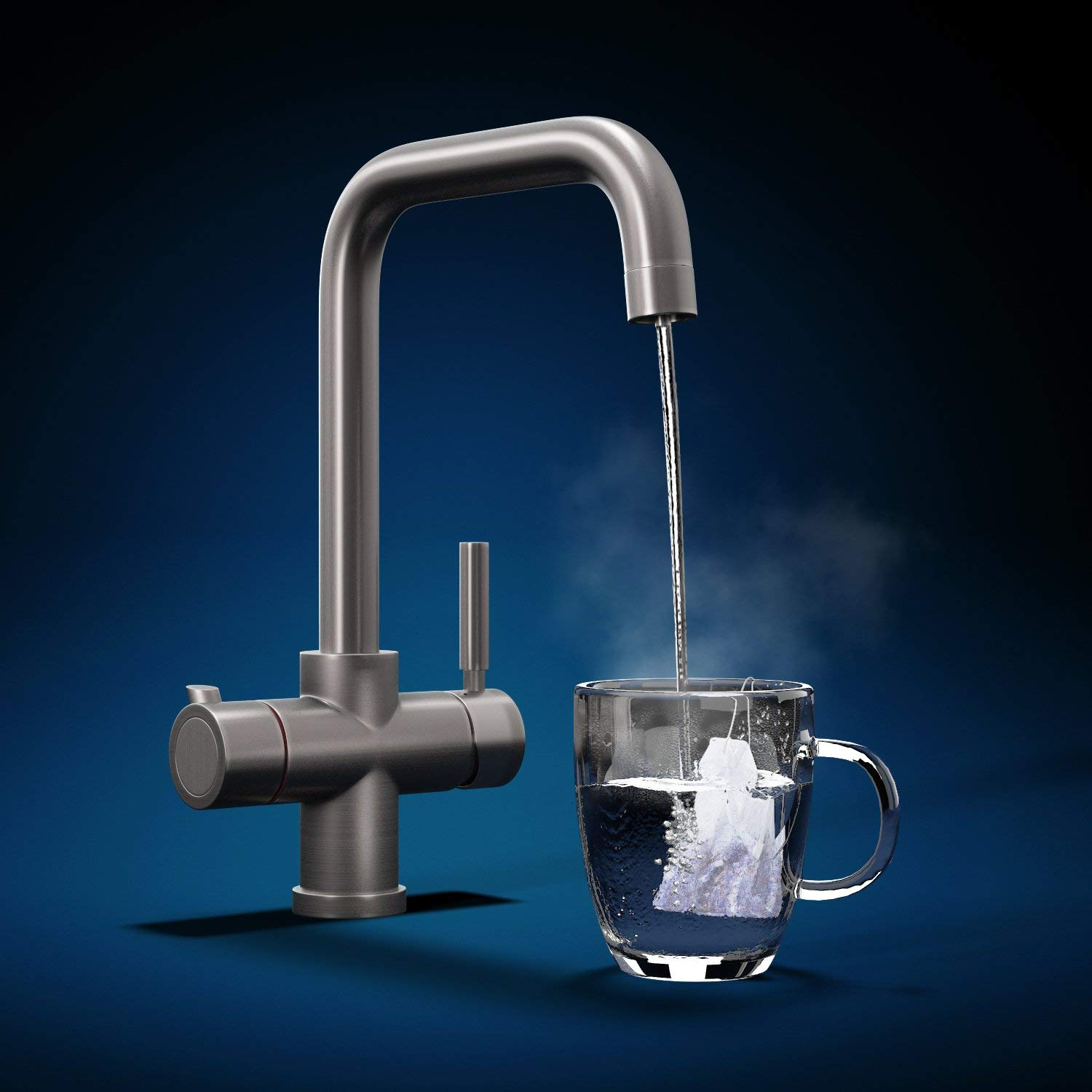 Fohen Instant Boiling Water Contemporary 3 in 1 Tap Brushed Gunmetal