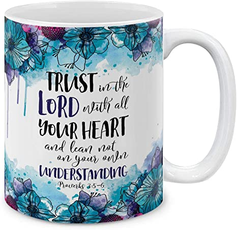 Amazon Com Mugbrew Christian Bible Proverbs 3 5 6 Ceramic Coffee Mug Tea Cup 11 Oz Kitchen Dining