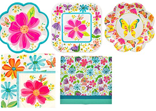 [Spring Party Supplies Luau Spring Break Beach Party Supplies Decorations | 64 PC Set Party Decoration Easter Party Supplies | Tea Party Paper Plates Supplies |Great for any festive cheerful] (Butterfly Tween Costumes)