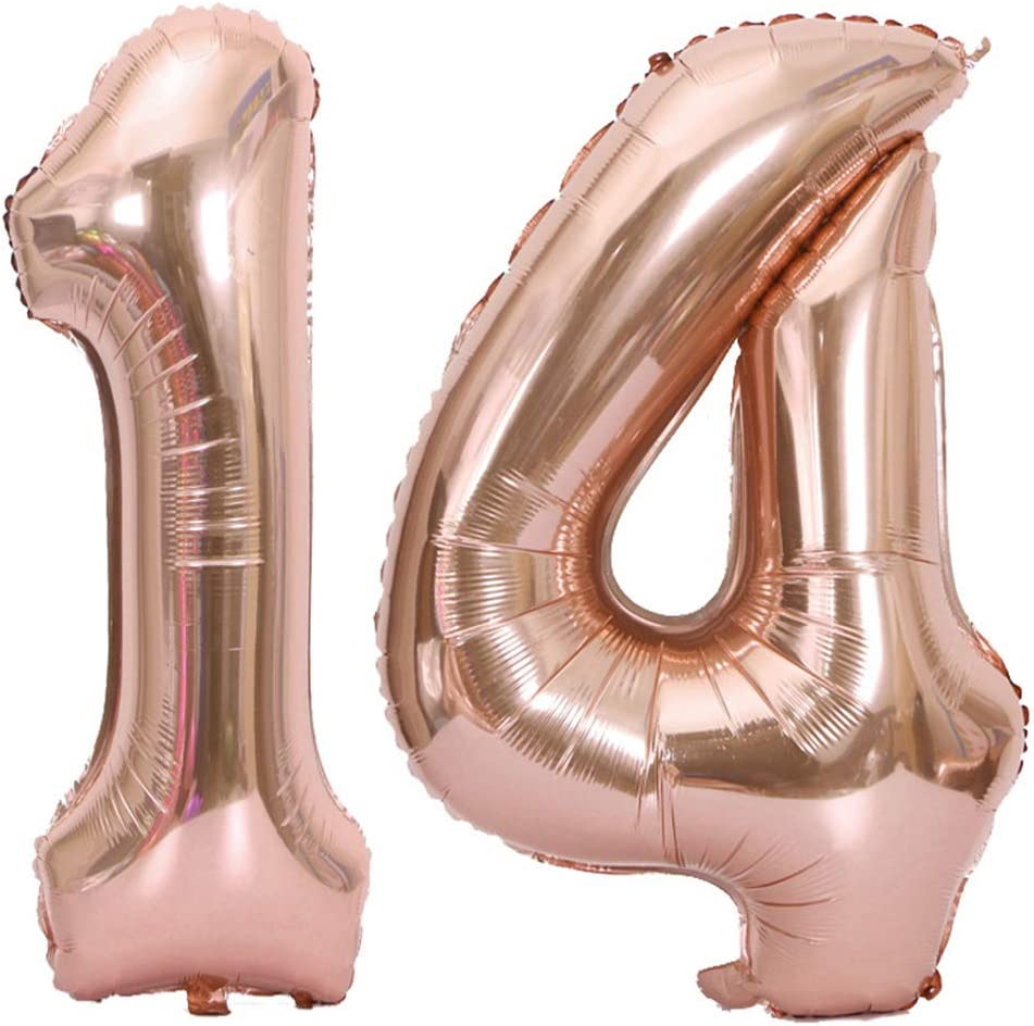 Girl 14th Birthday Party Decorations Supplies Tellpet Number 14 Balloons Pink 40 Inch