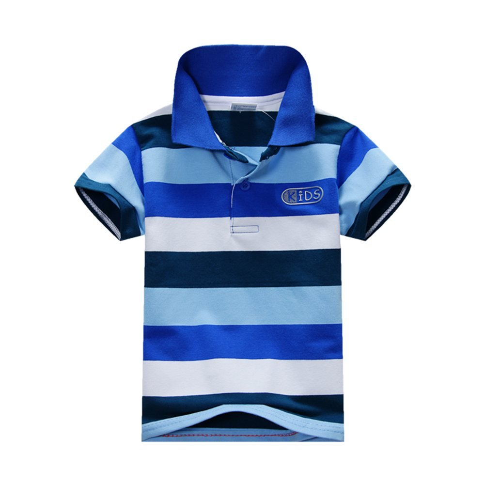 Weixinbuy Kid Baby Boys Cotton Short Sleeve Striped Polo Casual T-shirt