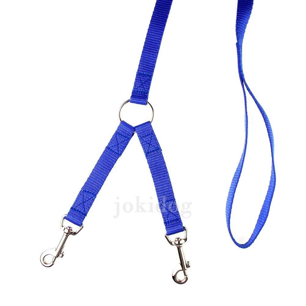 jokidog Laisse 2 chiens NYLON CLASSIC bleu - S