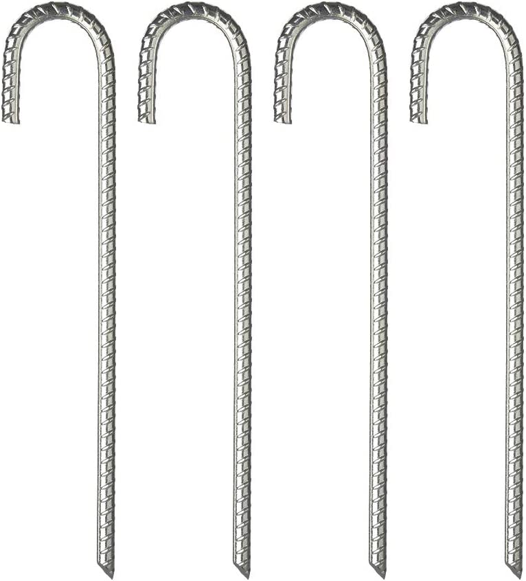 FEED GARDEN 12 inch Galvanized Rebar Stakes Heavy Duty J Hook,Ground Stakes Tent Stakes Steel Ground Anchors,4 Pack,Silver