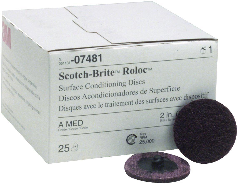 "Scotch-Brite 07481 Roloc 2"" x No Hole Aluminum Oxide Medium Grade Surface Conditioning Disc, 25 count"