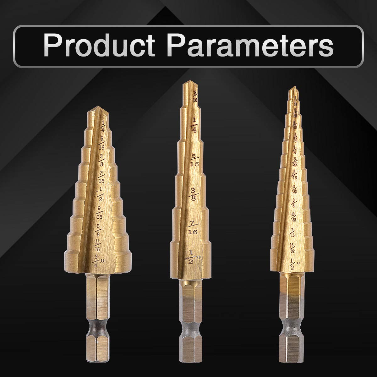 3//16-1//2,1//4-3//4,1//8-1//2 Inch Total 28 Sizes KATUR 3Pcs Classic Titanium Step Drill Bit Set Universal Cone Saw 1//4 Inch Hex Shank HSS Double Straight Groove Cutting Blades Gold
