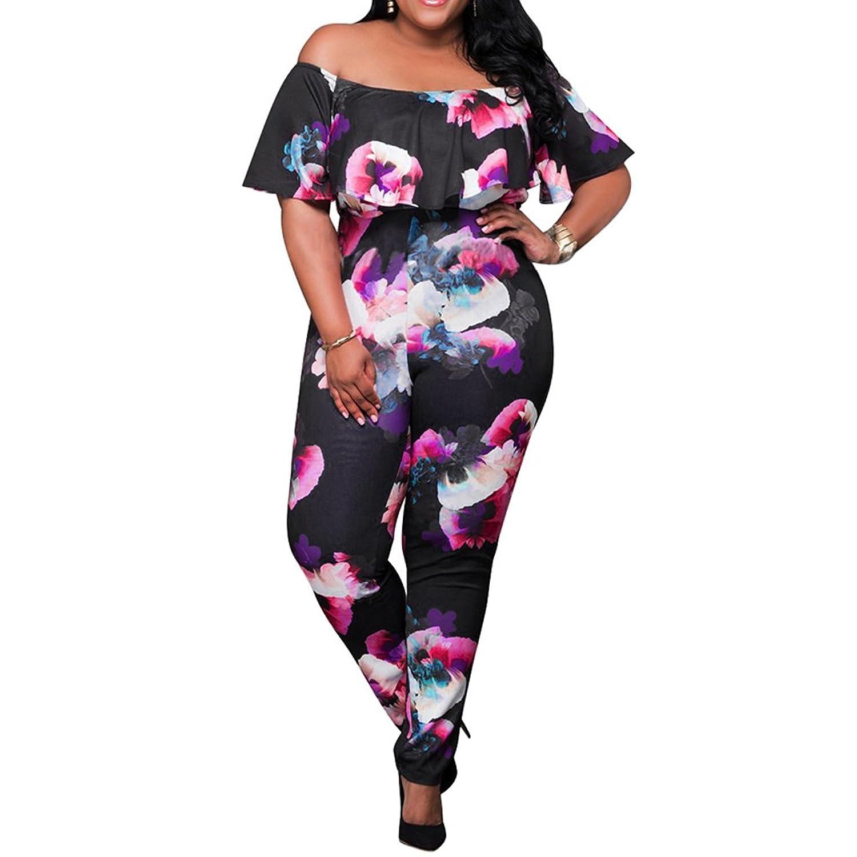 Bodycon4U Women's Plus Size Floral Print Off Shoulder One Piece Jumpsuit Romper