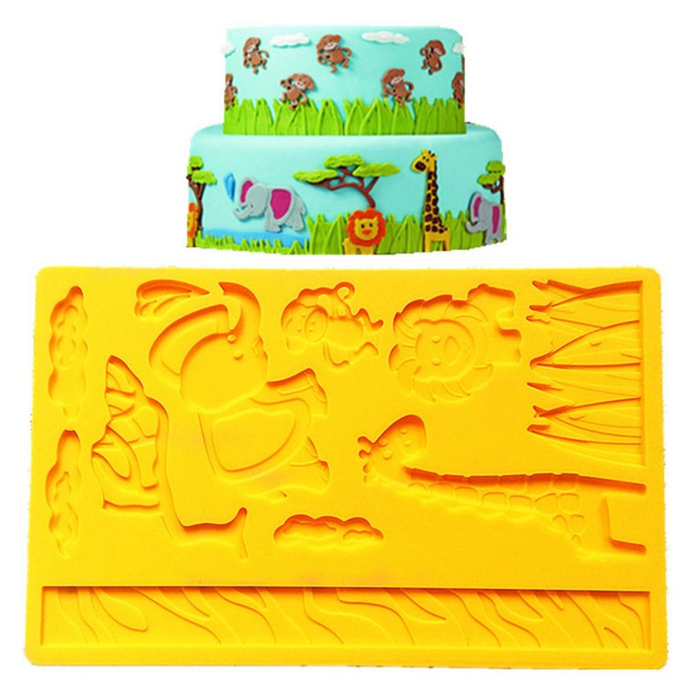 Silicone Mold Elephant Giraffe Lion Monkey Zoo Animal Jungle World Molds Cake Lace Decorating Fondant Sugar Cake Tools ?Pack of 2?