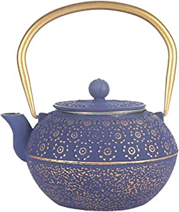 Cast Iron Tea Kettle, Japanese Tetsubin Teapot Coated with Enameled Interior, Durable Cast Iron Teapot with Stainless Steel Infuser (Blue Cherry Blossom Pattern, 1000ml/34oz)