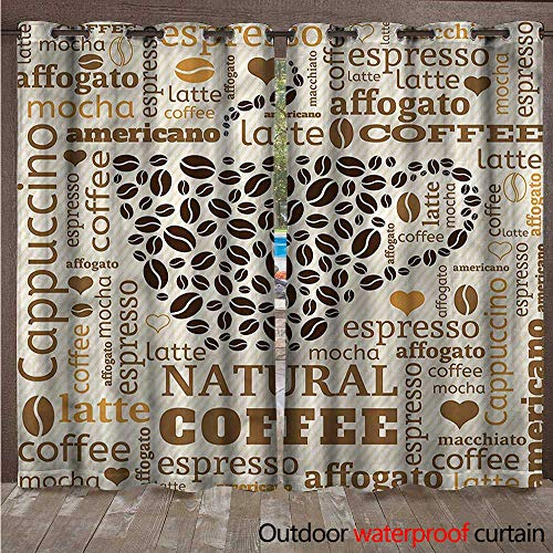 - cobeDecor Modern Outdoor Ultraviolet Protective Curtains Latte Affogato Coffee W72 x L108(183cm x 274cm)