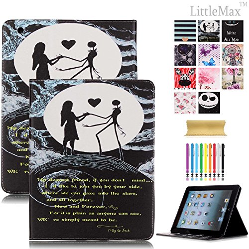 iPad 2/3/4 Case LittleMax(TM) Synthetic Leather Protective Case [Kickstand] Flip Folio Wallet Case Card Holder Cover for Apple iPad 2 3 4 [Free Cleaning Cloth,Stylus Pen](Love in Halloweentown) ()