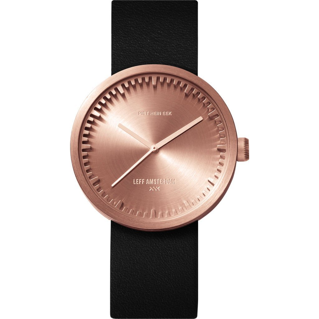 LEFF amsterdam D38 Tube Watch | Rose Gold / Black Leather Watch Band by LEFF Amsterdam