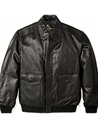 """<span class=""""a-offscreen"""">[Sponsored]</span>Men's Big and Tall Leather Flight Jacket, Biker Jacket With Military Print Inside"""