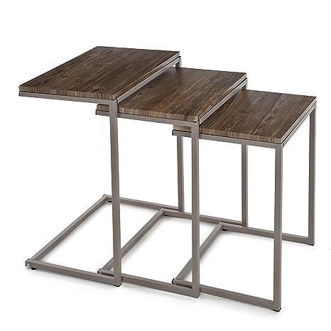 IKAYAA YT08009 - Conjunto de Mesas Auxiliares 3uds para Salón Dormitorio (Estructura de Metal,
