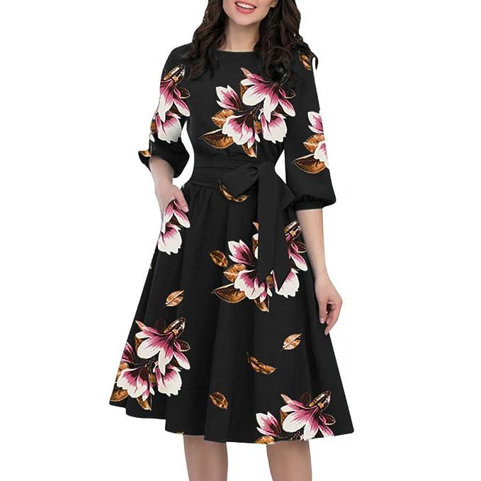 a5135400e0 2019 Midi Vestidos Vintage Retro De 3 4 Manga Linterna Swing Vestido Plisado  con Estampado Flores Vestido Elegante De Fiesta De Noche Vestido Cóctel De  ...