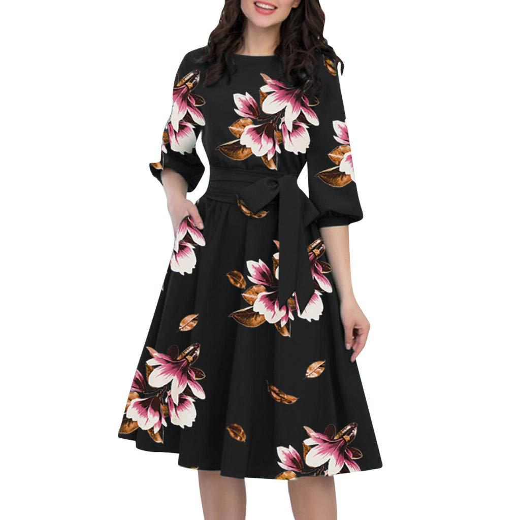 A-Line Women Elegant O-Neck Half Sleeve Pocket Sashes Knee-Length Casual Dress (Black, Size:M/US:6)
