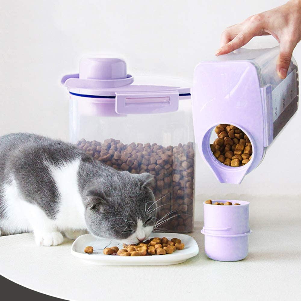 Ansee Pet Food Storage Container, Cereal Container with Airtight Design Pour Spout Measuring Swivel Cup, BPA-Free Dry Food Dispenser for Dogs Cats Birds