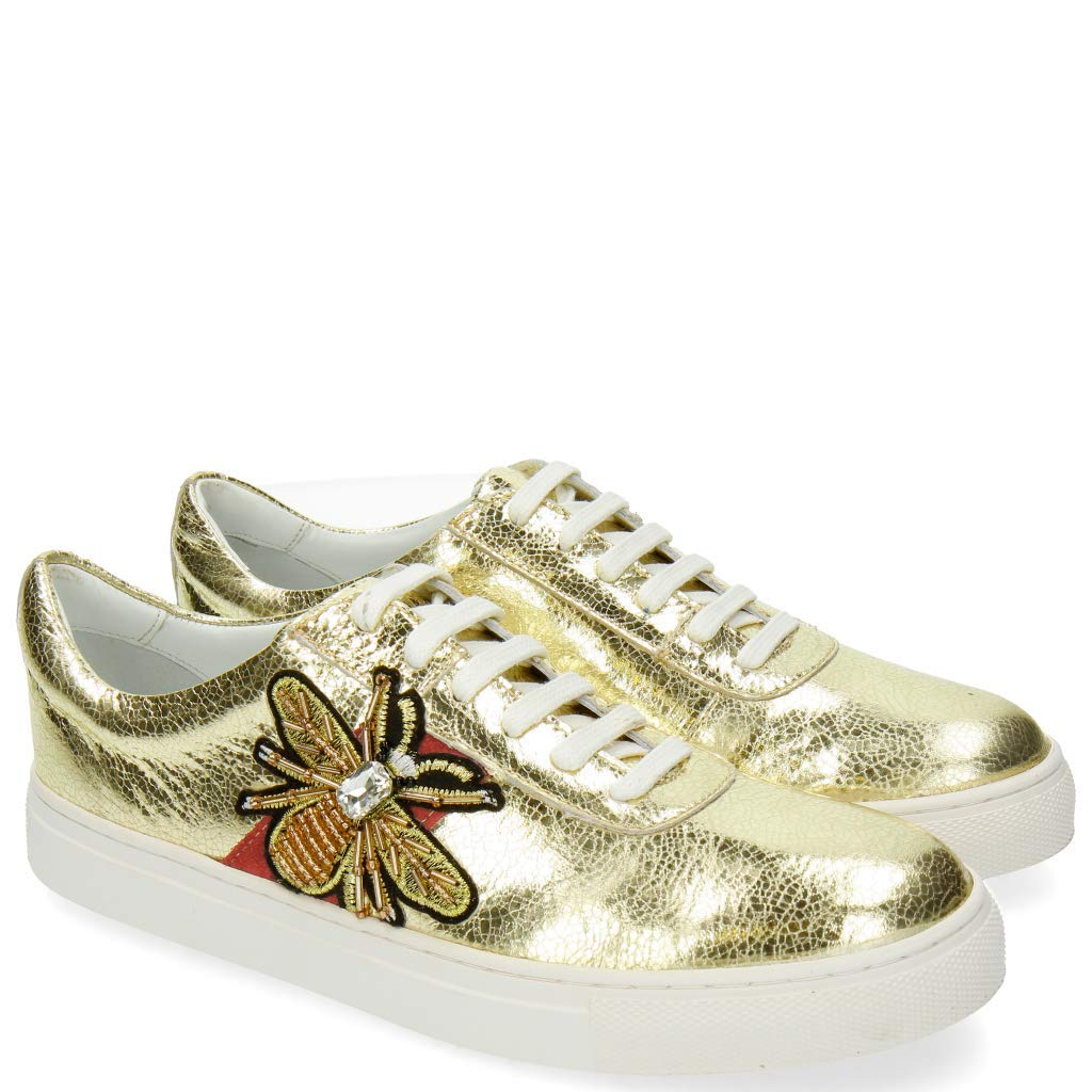 MELVIN & HAMILTON MH HAND MADE schuhe OF OF OF CLASS Jeanne 4 Metal Gold Bee Patch cc66bb