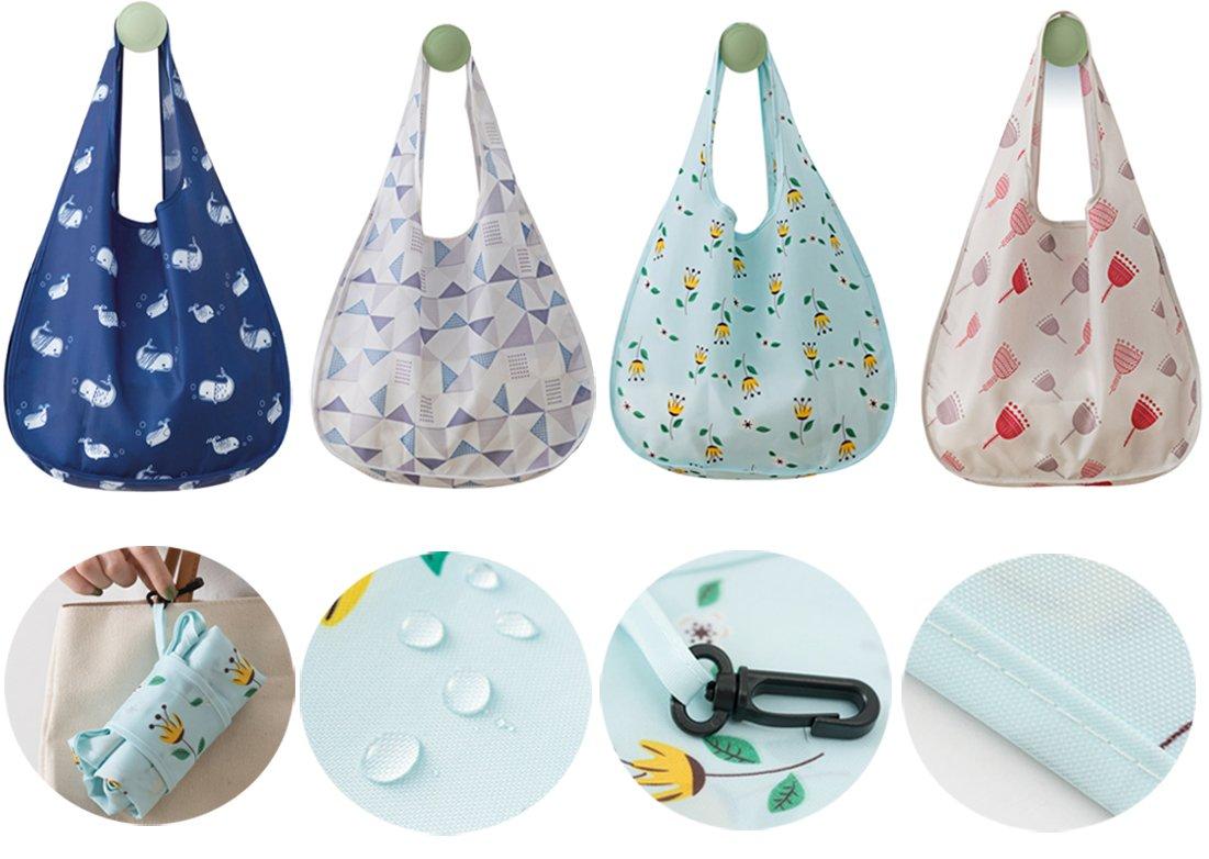 再利用可能なショッピングバッグwithハンドル洗濯可能トートバッグ折りたたみ防水Grocery Bagsからocharzy OCH121E B077X9WW8P  ミックス