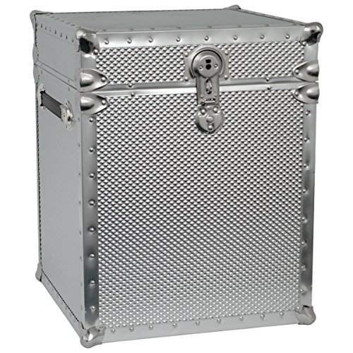 Seward Trunk Embossed Steel Tall Cube Storage Trunk, Silver, 16-inch (SWD5950-46)