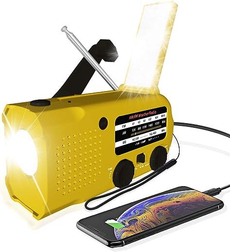 JYDZRD Emergency Mini Weather Radio, 5000mAh Hand Crank Solar Muilt Ways Powered NOAA/AM/FM Weather Alert Portable Radio with Flashlight, Reading Lamp, Cellphone Charger, Headphone Jack, SOS Alarm…