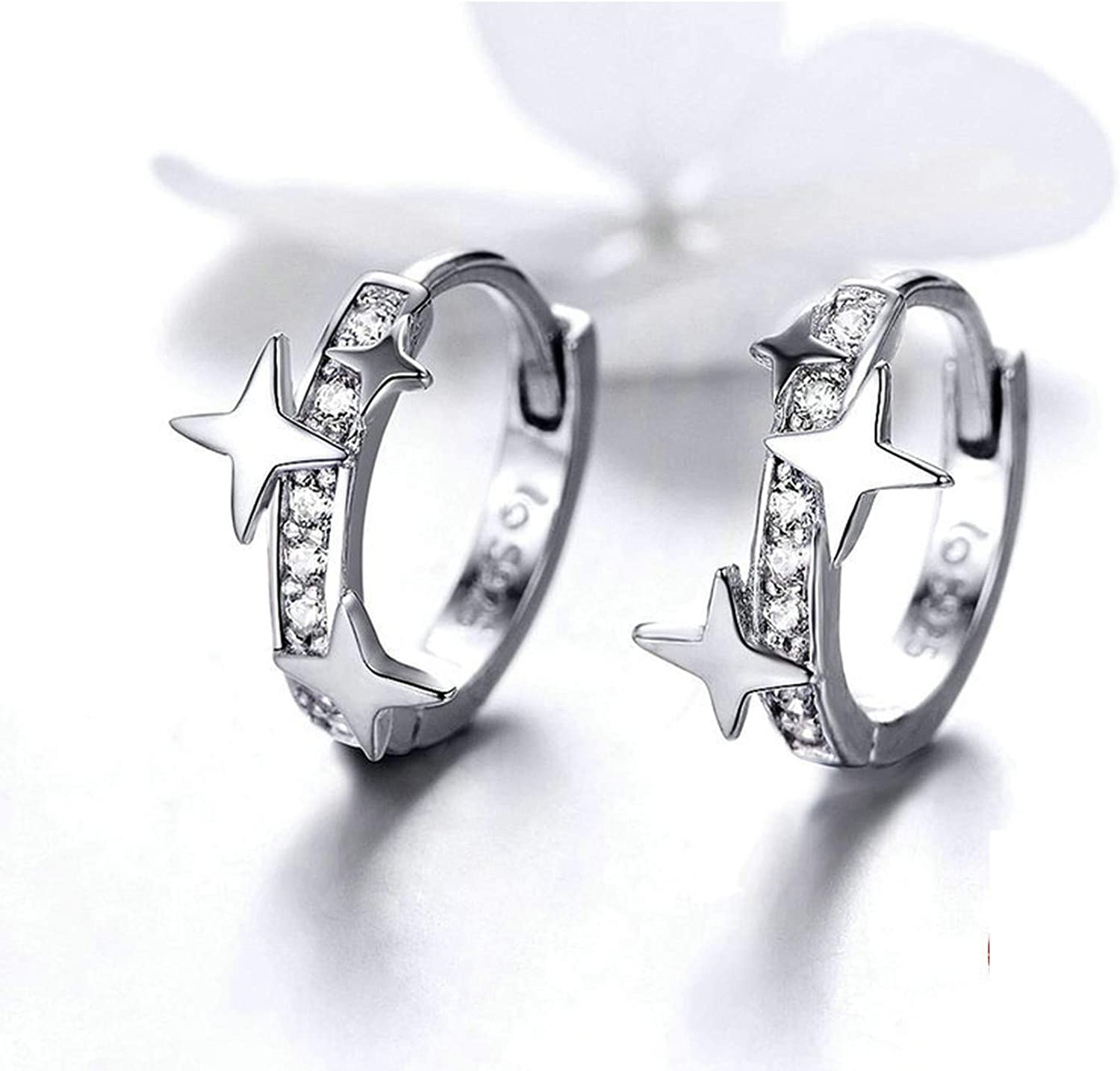 Small Hoop Earrings Sterling Silver Clear Cz Universe Tiny Earrings For Girl Gifts Anti-Allergy Jewelry