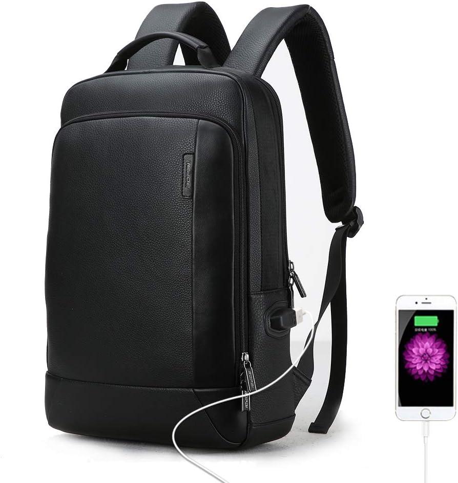 Bopai 18L Leather Laptop Backpack for Men Intelligent Increase Backpack with USB Charging Travel Backpack Men