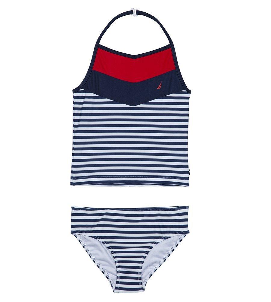 Nautica Baby Little Girls' Tankini Swim Suit, Chevron Navy, 4