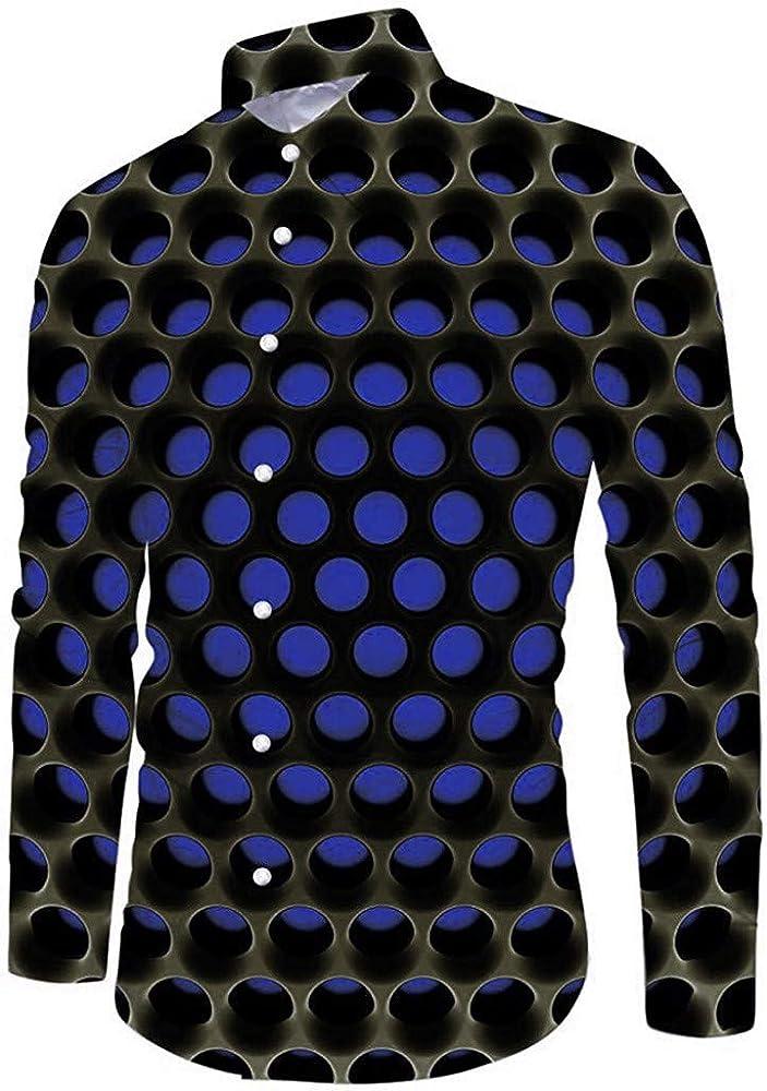 ღLILICATღ Camisa de Novedad para Hombre de Impresa en 3D Funky Camisas Casual Slim Fit Manga Larga Shirt S-2XL: Amazon.es: Ropa y accesorios