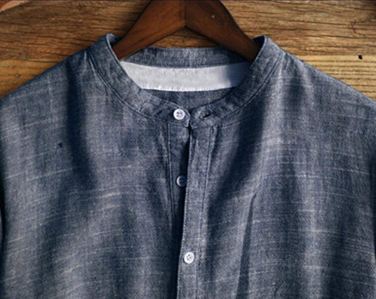 Winwinus Mens Stand Collar Casual Loose Fit Button Down Long Sleeve Shirts