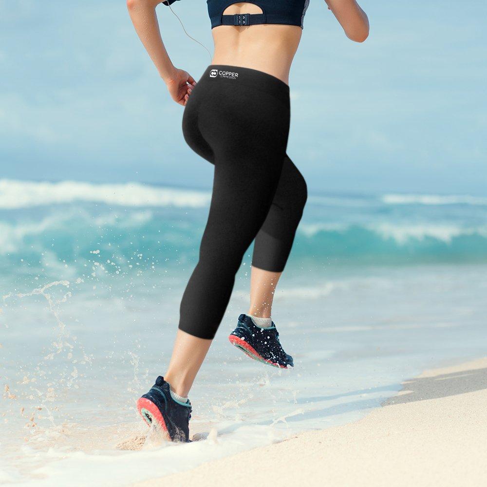 62c814b8d56d50 Amazon.com: Copper Compression Womens Capri Leggings - High Waist 3/4 Pants,  Tights, Capris: Clothing