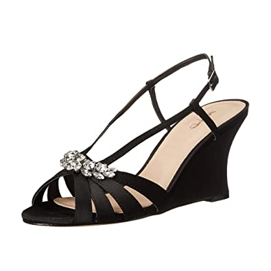 66688d9922a XYD Evening Strappy Wedge Sandals Sexy Cut Out Slingbacks Peep Toe  Rhinestone Mid Heeled Shoes for